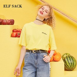 mini tees Canada - Elf Sack 2019 Spring New Cotton Tshirt Woman Casual Woven Short Print Ladies Tees O-neck Oversized Femme Tshirts Tops C19041001
