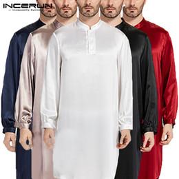 Men S Long Robe NZ - Nightgown Men Robe Pajamas Silk Satin Long Sleeve Bathrobe Lounge Arabe Kurtas Dress Shirt Gown Masculina Islamic Men Clothes
