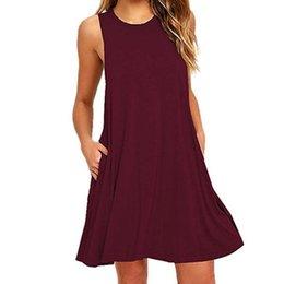 Plus Size Clothing Dresses UK - 2019 Summer Dress Women Sleeveless Boho Style Short Beach Dress Sundress Female Casual Plus Size Shift Dresses Vestidos designer clothes