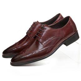 Tan Mens Dress Shoes Leather Australia - Fashion Brown Tan   Black Pointed Toe Oxfords Mens Business Dress Shoes Genuine Leather Social Shoes Male Wedding Shoes