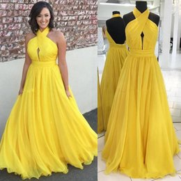 flowy floor length dress Australia - Modest Chiffon Yellow Long Evening Dresses Halter Pleated Flowy Floor Length Backless Prom Dress Cheap Formal Party Gowns