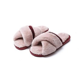 female home slippers Australia - Lasperal Nice Winter Women Home Slippers With Faux Fur Fashion Indoor Warm Shoes Woman Slip On Flats Female Slides Black Size 51