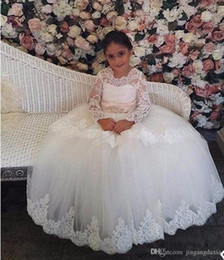vintage flower girl dresses for sale Australia - Vintage Lace Tulle Girls Pageant Gowns Customized Flower Girl Dress For Wedding With Sash Lace Appliques Formal Wears Hot Sale