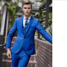 Royal Blue Yellow Suits Australia - Custom Made Royal Blue Groom Wedding Suits Tailored Size Formal Groomsmen Party Prom Tuxedos One Button (Jacket+Pants+Vest)G564