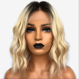 blonde human hair wigs short wavy 2019 - Full Lace Human Hair Wig Bob Wavy Blonde Color Ombre 613 Brazilian Virgin Hair 150% Density Pre Plucked Lace Front Wig c