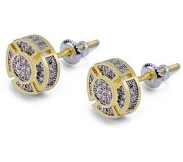 $enCountryForm.capitalKeyWord Australia - 925 Silver 8mm Stud Earrings Gold Color Micro Pave Cubic Zircon Square Stud Earring Screw Back Stud Earrings For Men & Women Hip Hop Jewelry