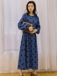 long sleeve maxi dresses Australia - Best Quality Series# Autumn Winter Dress Vintage Polka Dot Long Lantern Sleeve Maxi Party Prom Casual Fashion Women Dresses 8005