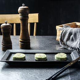 Black Stockings For Sale NZ - Japanese Style Wholesale Ceramic 12-inch rectangular Black Dessert Plate Matte Serving Sushi Plate for Restaurant on Sale
