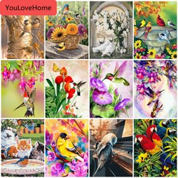 birds home picture UK - Painting By Numbers Animals Handpainted Drawing Acrylic Wall Art Pictures By Number Bird Home Decoration Gift Coloring By Number