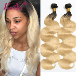 human hair weave mixed blonde Australia - 1B 613 Blonde Ombe Hair Weave Body Wave Brazilian Hair Weave Bundles Two Tone Colored Human Hair Weave Ruiyu Remy Wefts Extensions