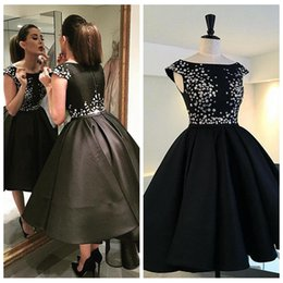 $enCountryForm.capitalKeyWord NZ - 2019 Scoop Cap Sleeveless High Low Black Prom Dresses Pleated Ruched Short Vestidos De Celebrity Party Gowns Appliques Flowers Evening Gowns
