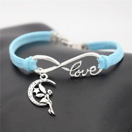 $enCountryForm.capitalKeyWord Australia - 2019 New Arrivals Fashion Beautiful Infinity Love Moon Star Fairy Angel Pendant Charm Bracelets Bangles Women Men Blue Leather Suede Jewelry