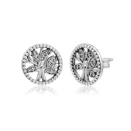 $enCountryForm.capitalKeyWord Australia - New Authentic 925 Sterling Silver Earring Tree Of Love With Crystal Studs Earring For Women Wedding Gift Fine Pandora Jewelry