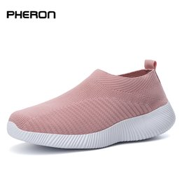 Ladies Lace socks online shopping - Plus Size Shoes Women Casual Knitting Sock Sneakers Stretch Flat Ladies Slip On Shoes Female Leisure Flats Fashion