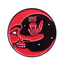 Smile buttonS online shopping - Red cat and moon button badges smile Artemis pin celestial galaxy brooch funny shirts jacket accessory