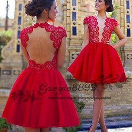 Cheap prom dress fast online shopping - 2019 sheer Bodice Keyhole Short Prom Dresses with special lace tulle Vestido De Festa Fast Shipping backless custom made cheap Prom Gowns