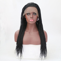 twisted wig UK - Twist Crochet Braided Wigs Synthetic Lace Front Wigs Cospaly Party Black Straight Full Hand Tied Heat Resistant Fiber Hair Wig for Women