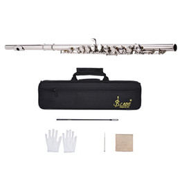 Discount hole flute - Western Concert Flute Silver Plated 16 Holes C Key Cupronickel Woodwind Instrument with Cleaning Cloth Stick Gloves Scre