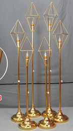 Discount led christmas lights - 2019 romantic Geometric diamond metal stand road lead with led light for wedding walkway aisle party event T- Stage back