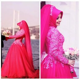 $enCountryForm.capitalKeyWord Australia - Modest Fuchsia Ball Gown Wedding Dresses For Saudi Arabia Muslim Women Long Sleeves Lace Applique Sequin Beads High Neck Garden Bridal Gowns