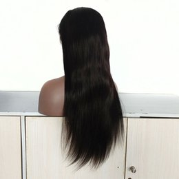 18 Inch Straight Lace Wig Australia - 22 Inch Human Hair Full and Lace Front Wigs Indian Virgin Human Hair Wigs Silk Straight Natural Color for Black Women