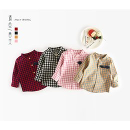 Red Shirts For Baby Girls NZ - 2019 Baby Boys Girls Spring Summer Plaid Blouse Shirts Clothes Kids 100% Cotton Gentleman Bow Tie Tops for Child Shirts 1-4Y