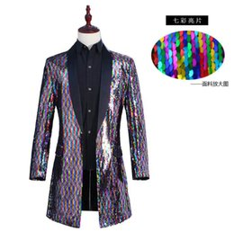 Blazers Suits & Blazers New Mens Clothing Fashion Singer Dj Gd Colorful Laser Long Loose Coat Star Nightclub Bar Stage Costumes S-5xl Hot Sale Custom Style !