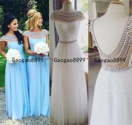 Long bLack pearLs online shopping - 2020 African A Line Bridesmaid Dresses Long lace Appliques Wedding Guest Wear luxury beaded pearls chiffon Maid Of Honor Gowns Prom Dress