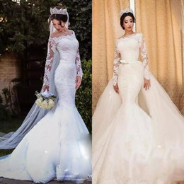 Discount detachable train belt 2019 Arabic Mermaid Wedding Dresses with Detachable Train Long Sleeves Off Shoulder Bow Belt Lace Tulle Modest Bridal Go