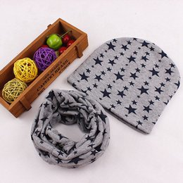 kids boy summer scarf Canada - 1 Set Baby Hat Scarf Nice Camo Print Cotton Children Cap Collar Spring Kids Boys Girls Beanies Infant Toddler Hats Scarves