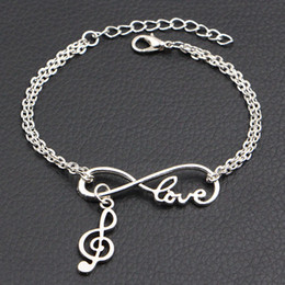 music note bangle NZ - New Arrival Infinity Love Music Note Pendant Charm Bracelets & Bangles Boho Fashion Handmade Silver Double Link Chain Women Men Jewelry Gift
