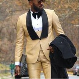 Custom Designed Clothing Australia - 2019 Custom Male Clothes Business Suit Costume Slim fit Casual Design Champagne Prom Suits Groom Tuxedos For Men Wedding Suit