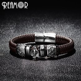 $enCountryForm.capitalKeyWord Australia - Reamor Punk Style Bangle 316l Stainless Steel Spades Skull Head Charms Trendy Male Bracelet Black Wide Braided Leather Bracelets MX190727