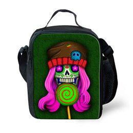 $enCountryForm.capitalKeyWord Australia - Candy Skull Girls Lunch Bags for Kids Small Children Insulated Lunchbags Reusable Snack Container Thermal Lunchbox bags