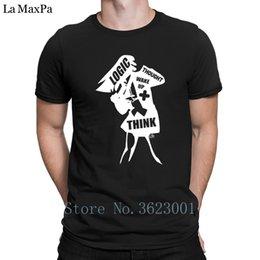 Design Standard Men's Tee Shirt Logic Thought Wake Up & Think T-Shirt Top Tee Short Sleeve T Shirt Fun Tee Shirt Summer Classic