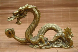 $enCountryForm.capitalKeyWord Australia - Copper Brass craft Chinese Feng Shui Brass Twelve Zodiac Flying Dragon Play Ball Statue