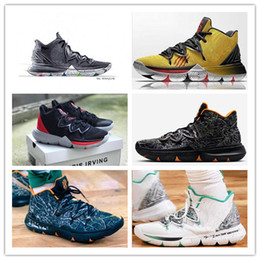 36fd3899a8a 2018 New Kyrie5 Irving 5 Multicolor BHM Yellow Black White Basketball Shoes  Championship MVP Finals Mens Trainers 5s Sports Sneakers 40-46
