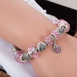 Pandora Silver Plate Bracelets NZ - Hot Selling Fashion Charm Zircon Pink Crystal Silver Plated Bracelets European Charm Snake Chain DIY Beads Fits Pandora Bracelets for Women