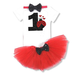 Discount cute cakes for birthday - Newborn Red Pattern Dress for Baby First 1 Year Girl Baby Birthday Tutu Cake Smash Outfits Girls Print Digital Cute Dres