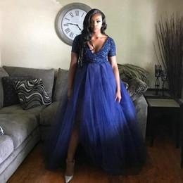 $enCountryForm.capitalKeyWord Australia - Royal Blue Plus Size Sequined Prom Dresses Deep V Neck Short Sleeves Side Split Evening Gowns Floor Length Tulle A Line Formal Dress