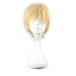 Blonde Short Hair Wig UK - Stylish Popular Short Straight Blonde Unisex Wig Synthetic Kanekalon Heat Resistant Cosplay Party Hair Full Wig Wigs