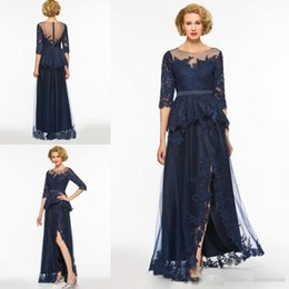 modest mother bride dresses Australia - Navy Blue Split Mother Of The Bride Dresses 2019 Modest Lace Appliqued 3 4 Long Sleeves Evening Gowns Plus Size Formal Dress