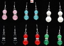 $enCountryForm.capitalKeyWord Australia - 9 Colors! wholesale Pair 2PCS Asian Same Design Tibet Silver Ear Hook And Black Jade Red Jade Green Jade Beads Drop Earrings