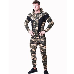 muscle men suits Australia - Muscle Fitness Brothers Autumn New Style Men Sports Leisure Suit Elasticity Slim Fit Exercise Camouflage Hoodie Suit