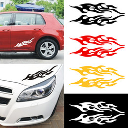 Fiber Engine Australia - 2pcs Universal Car Sticker Styling Engine Hood Motorcycle Decal Decor Mural Vinyl Covers Auto Flame Fire Sticker Car-styling
