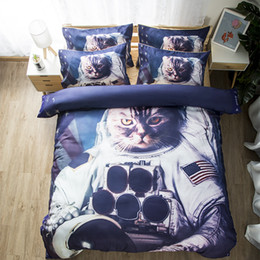 $enCountryForm.capitalKeyWord NZ - Free shipping Novelty Gift Astronaut Cat Pattern Man Boy Home Dorm Bedding Set Duvet Cover Set pillowcase Twin full Queen King size