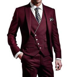 Wholesale handsome men dress pants resale online - Handsome Groomsmen Peak Lapel Groom Tuxedos Mens Wedding Dress Man Jacket Blazer Prom Dinner Three Piece Suit Jacket Pants Vest