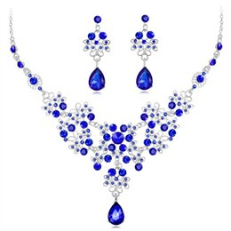 $enCountryForm.capitalKeyWord Australia - 1set Wedding Dress Jewelry Set For Charm Of Women Red Blue White Necklace Earrings Set Of Chain Party Gift