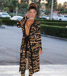$enCountryForm.capitalKeyWord Australia - Women Fashion Print Two 2 Piece Set Long Pants + Cape Coat Autumn Sexy Club Casual Clothing