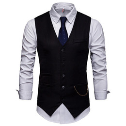 Discount sleeveless jacket man dress 2019 New Arrival high quality brand Dress Vests Slim Fit Mens Suit Vest Male Waistcoat Casual Sleeveless Formal Business